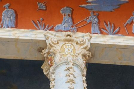 Frescoes and capital, Wasserpalais (Pillnitz Castle, Dresden)